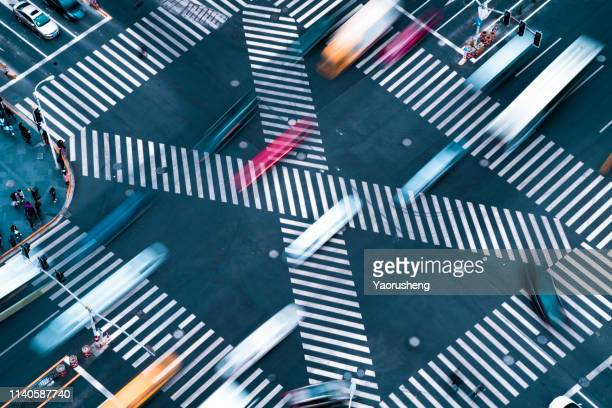 blur motioin concept.car move fast on crosswalk - speed stock pictures, royalty-free photos & images