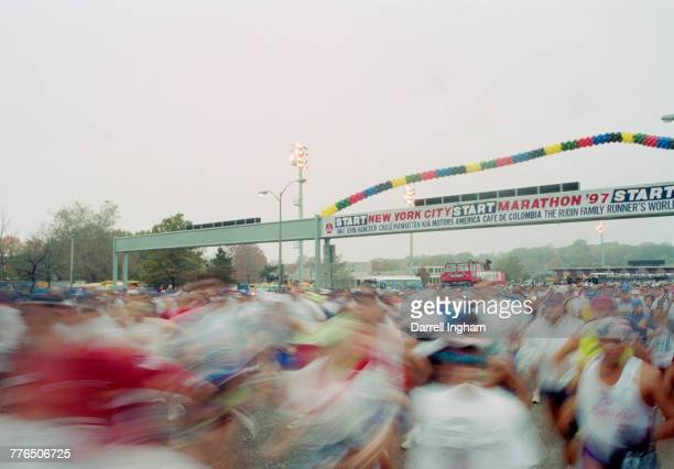 A blur of speed as runners cross the VerrazanoNarrows Bridge after the start of the the New York Marathon on 12 November 1997 at Staten Island New...