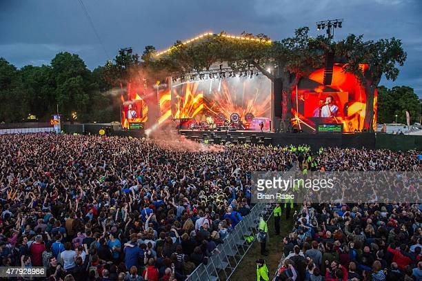 Blur performs live at the British Summer Time 2015 at Hyde Park on June 20 2015 in London England