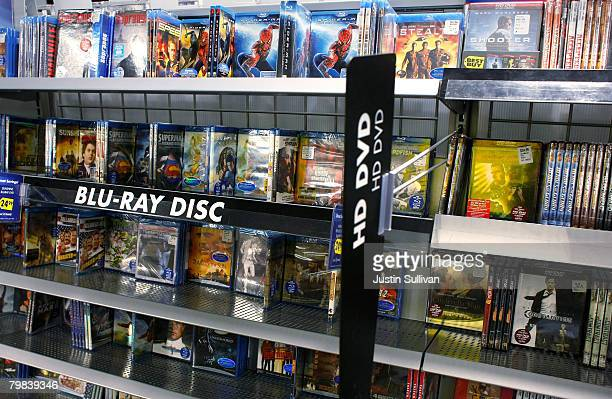 Bluray discs are seen next to HD DVD's on a shelf at a Best Buy store February 19 2008 in San Francisco California Toshiba Corp announced today that...