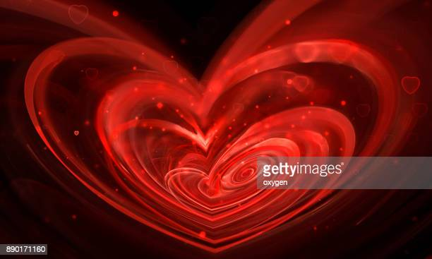 Blured Red Spiral Abstract Heart Shape on black