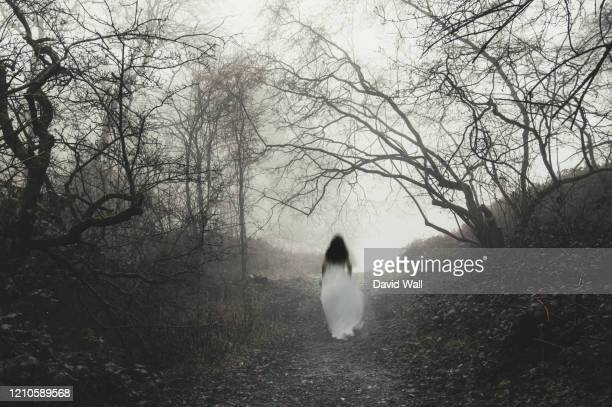 a blurred, abstract ghostly woman. walking through a forest on a spooky, misty winters day. with an out of focus, moody edit. - horror stock pictures, royalty-free photos & images