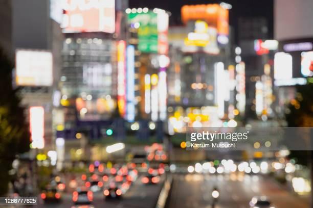 blurred abstract urban scene background - 歓楽街 ストックフォトと画像