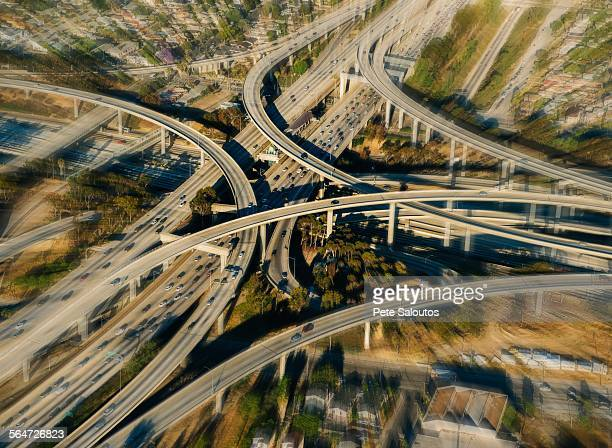 Blurred aerial view of flyovers and highways, Los Angeles, California, USA
