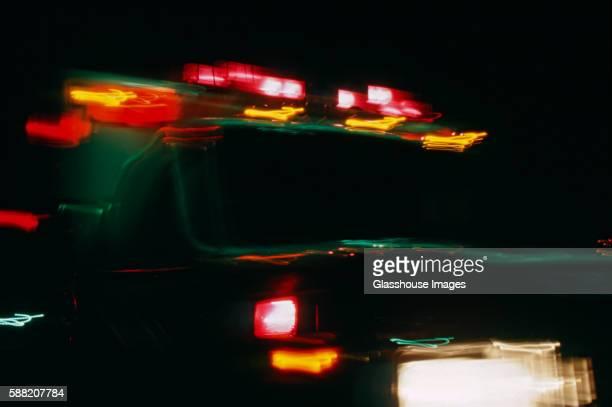 Blurred Ambulance at Night