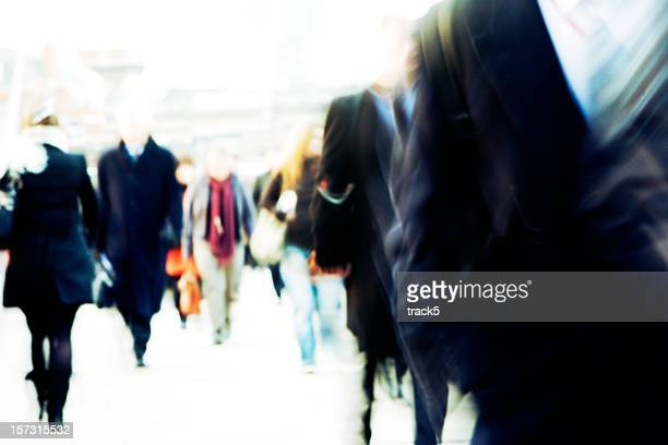 Blurred and defocussed business commuter abstract background texture