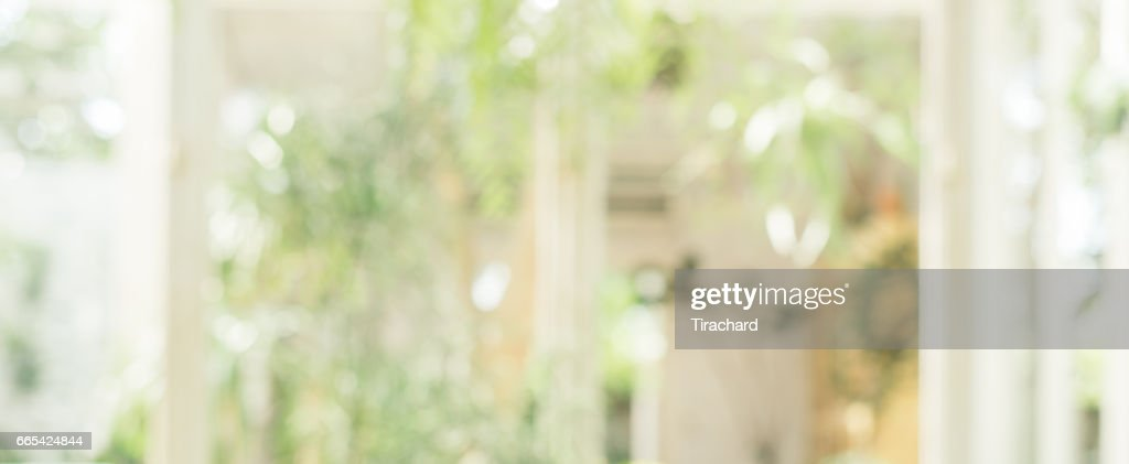 Blurred Background Coffee Shop In Garden Blur Background With Bokeh Vintage Filtered Image Panoramic Banner High Res Stock Photo Getty Images