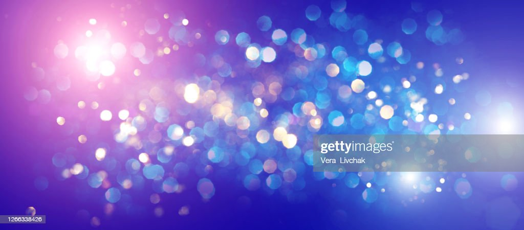 Blurred bokeh light background, Christmas and New Year holidays background : ストックフォト