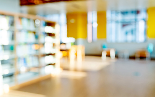 Blurred bookshelf in public library 1141148091