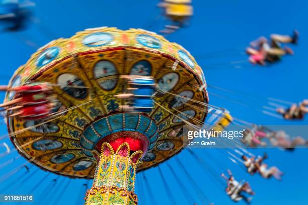 Blurred carousel ride at an amusement park