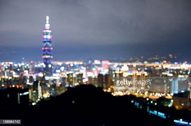 blurred cityscape of taipei at night - soft focus stock pictures, royalty-free photos & images
