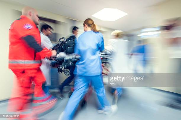 blurred emergency in hospital - rescue services occupation stock pictures, royalty-free photos & images