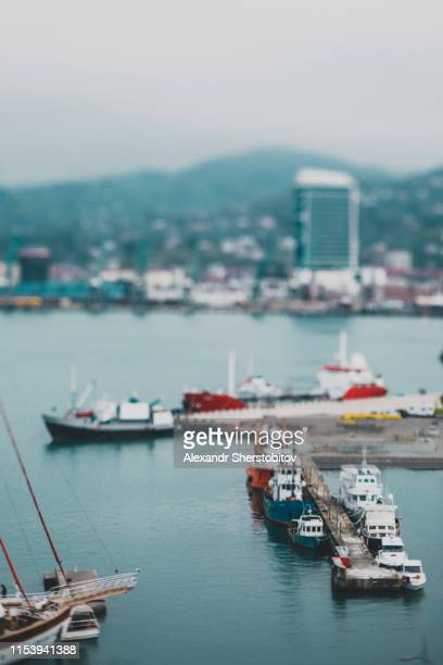 Blurred image of pier in Batumi