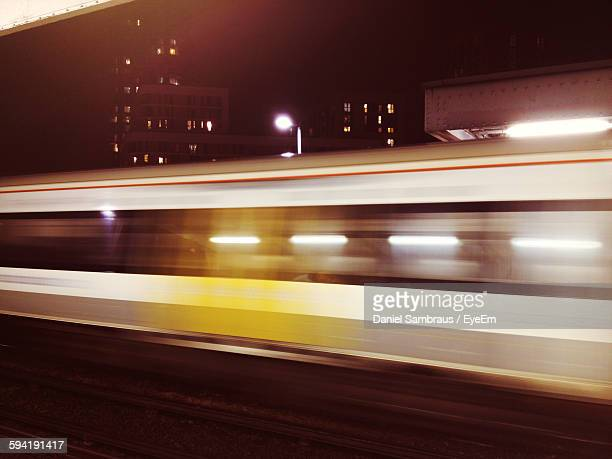 Blurred Image Of Train At Night