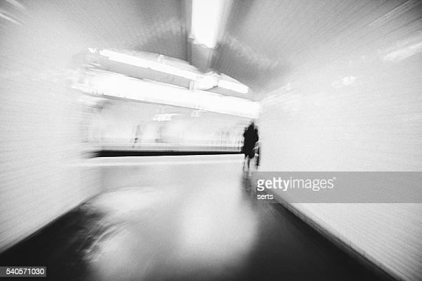 Blurred image of underground subway station