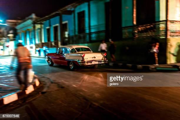 blurred Impression of streets of Santiago de Cuba at night