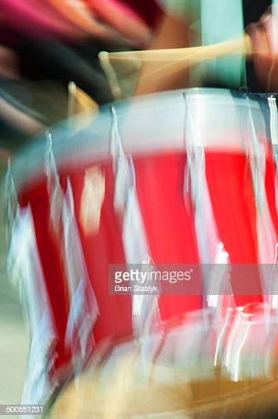 Blurred marching drummer