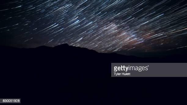 Blurred Milky Way Night Sky Star Trails Over Oregon