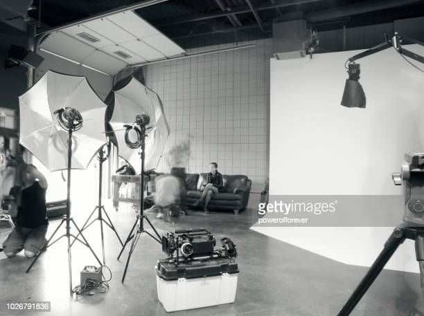 blurred motion behind the scenes on a film set - film set stock pictures, royalty-free photos & images
