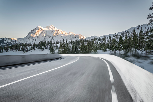 blurred motion mountain road,Mt.Baker - gettyimageskorea