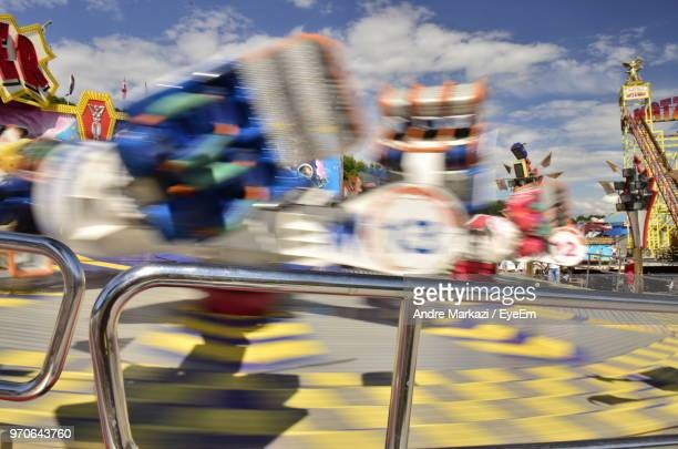 Blurred Motion Of Carousel At Amusement Park