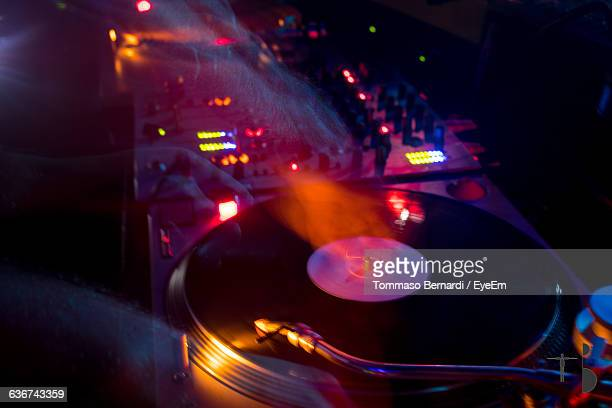 Blurred Motion Of Dj Spinning Turntable