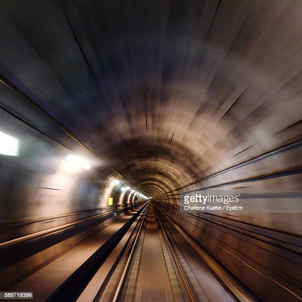 Blurred Motion Of Empty Tracks In Subway Tunnel