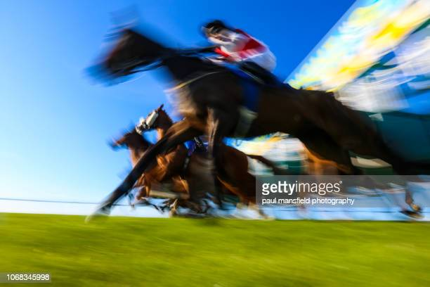 Blurred motion of horse racing
