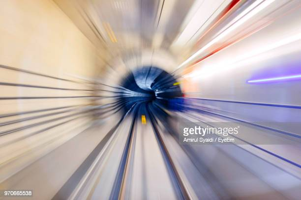 Blurred Motion Of Illuminated Subway Tunnel