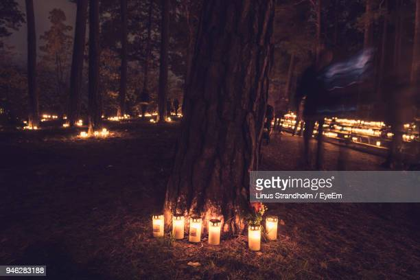 blurred motion of man walking by lit candles in forest at night - grab stock-fotos und bilder