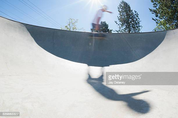 Blurred motion of skateboarder performing trick