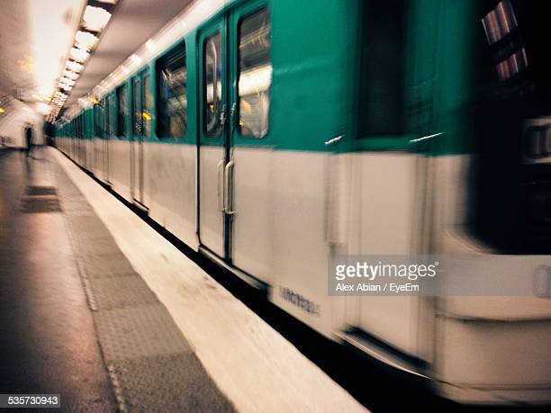 Blurred Motion Of Subway Train At Station