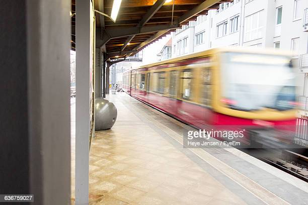 Blurred Motion Of Train Arriving At Station