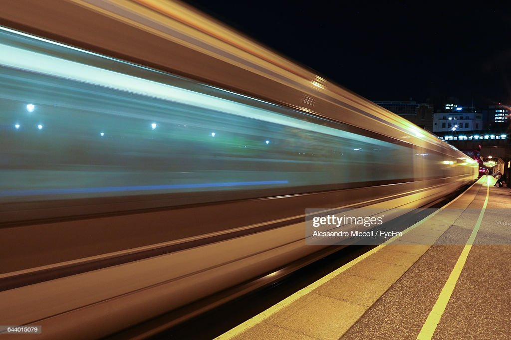Blurred Motion Of Train At Station : Stock Photo