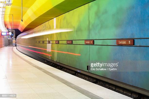 Blurred Motion Of Train At Subway Platform