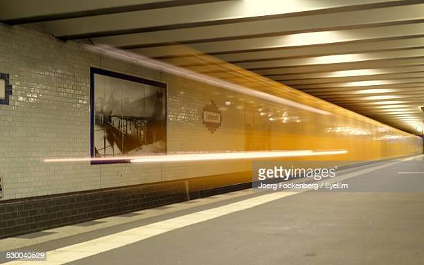 Blurred Motion Of Train In Subway Station