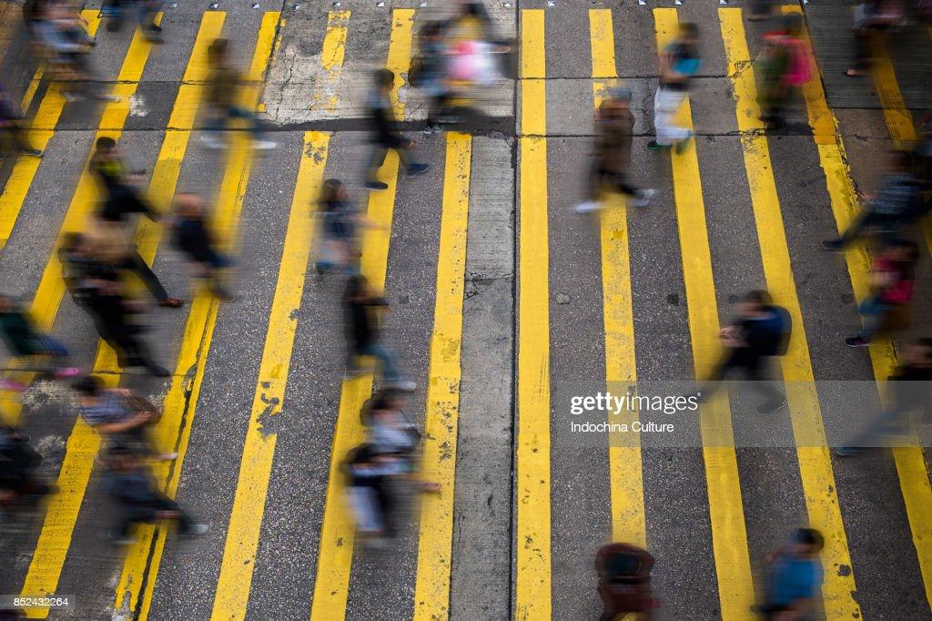 Blurred motion on city street, Hong Kong : Stock Photo