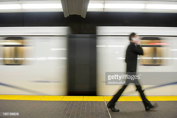 Blurred motion shot of business commuter
