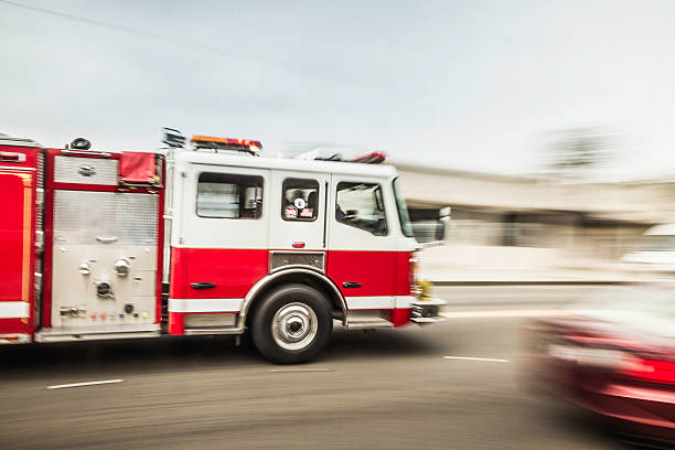 Blurred Motion Shot Of Speeding Fire Engine Wall Art