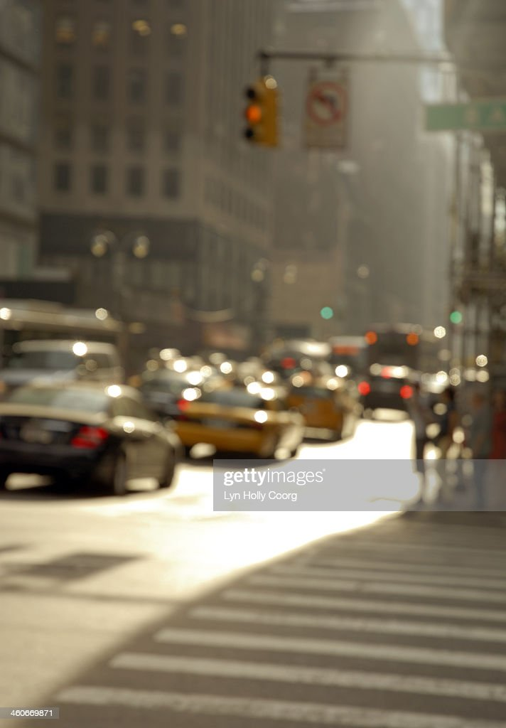 Blurred New York city street with cars : Stock Photo