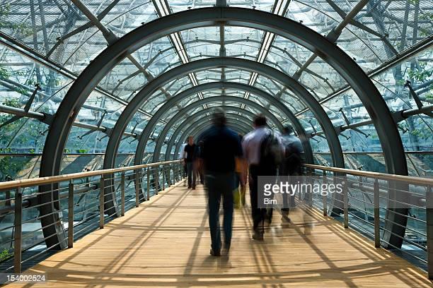 Blurred Pedestrians Walking Through Glass Tunnel