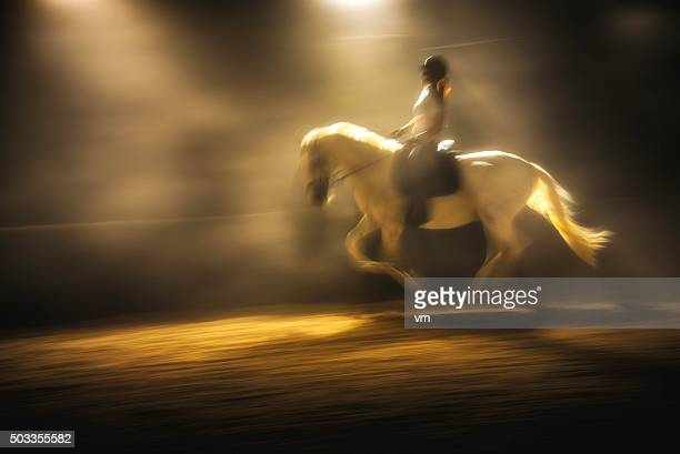 Blurred photo of a woman riding a horse at night