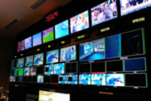 Blurred picture video switch of Television Broadcast, working with video and audio mixer, control broadcasts in recording studio. 931817342