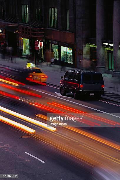 Blurred street scene evening, NYC