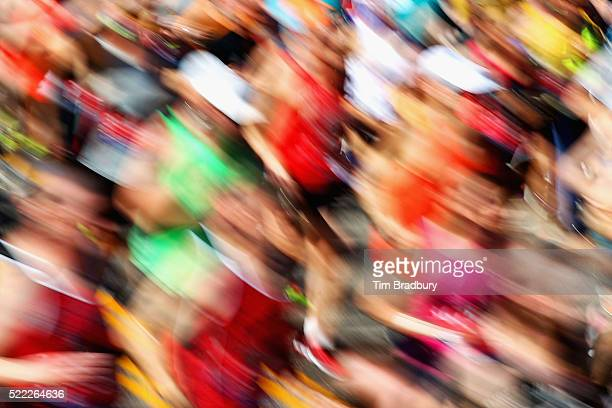 A blurred view as Wave One runners start the 120th Boston Marathon on April 18 2016 in Hopkinton Massachusetts