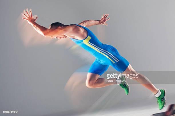 Blurred view of athlete running