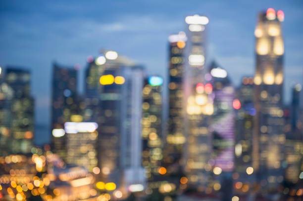 Blurred View Of City Skyline Lit Up At Night, Singapore Wall Art