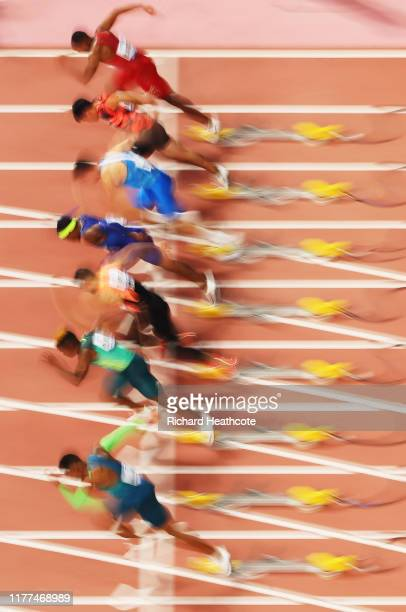 A blurred view of the Heat 5 start during the Men's 100 metres heats on day one of 17th IAAF World Athletics Championships Doha 2019 at Khalifa...