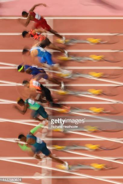Blurred view of the Heat 5 start during the Men's 100 metres heats on day one of 17th IAAF World Athletics Championships Doha 2019 at Khalifa...