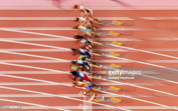 A blurred view of the Heat 6 start in the Women's 100 metres heats during day two of 17th IAAF World Athletics Championships Doha 2019 at Khalifa...